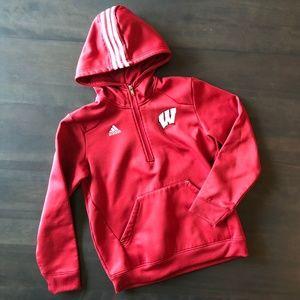 Youth Adidas Wisconsin Badger 1/4-zip Hoodie